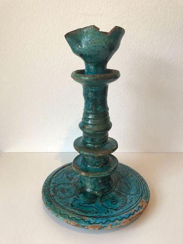 Glazed Pottery Oil Lamp, Persia, 17th/18th Century