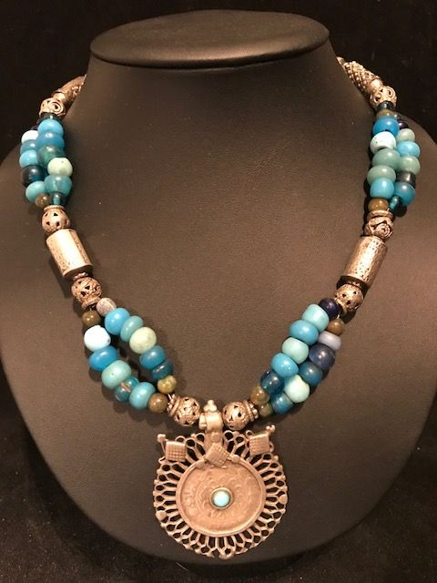 Ethnic necklace with antique beads