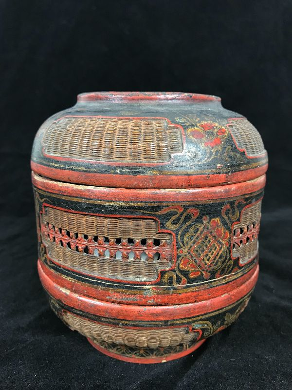 Chinese Basket, wickerwork and Lacquer Dated 1828