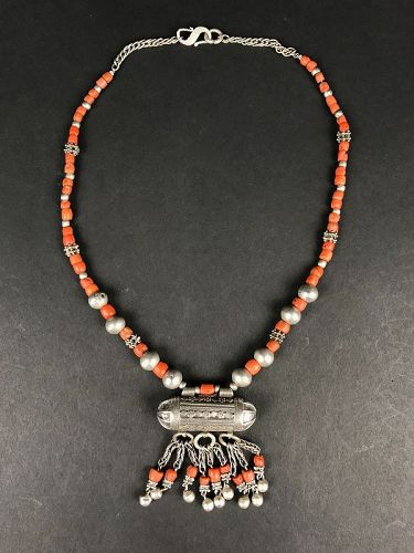 Silver and Coral Necklace, Yemen