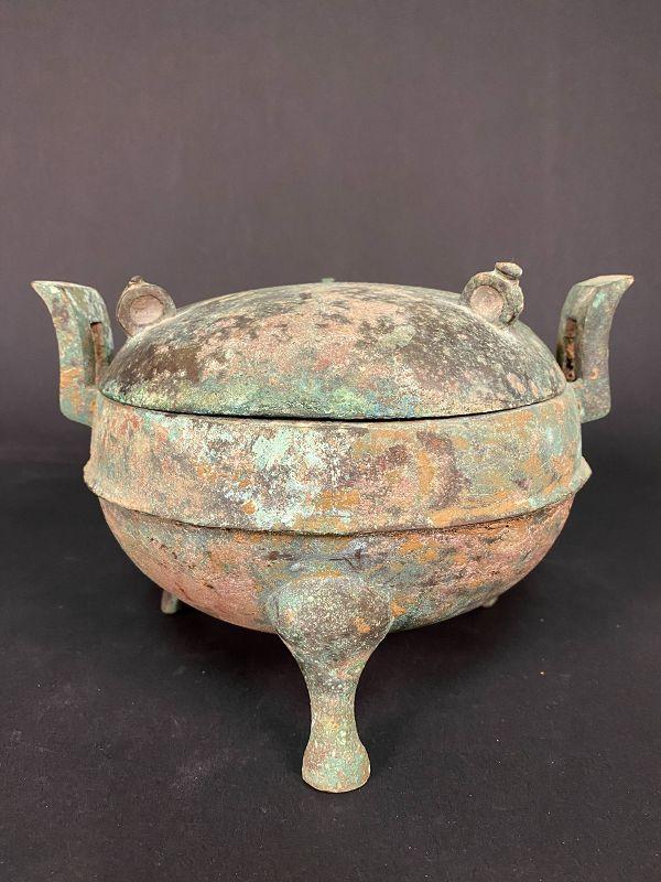 Chinese Bronze Tripod Vessel �Ding� Han Dynasty