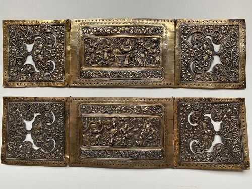 Straits or 'Peranakan' gilt silver pillow ends