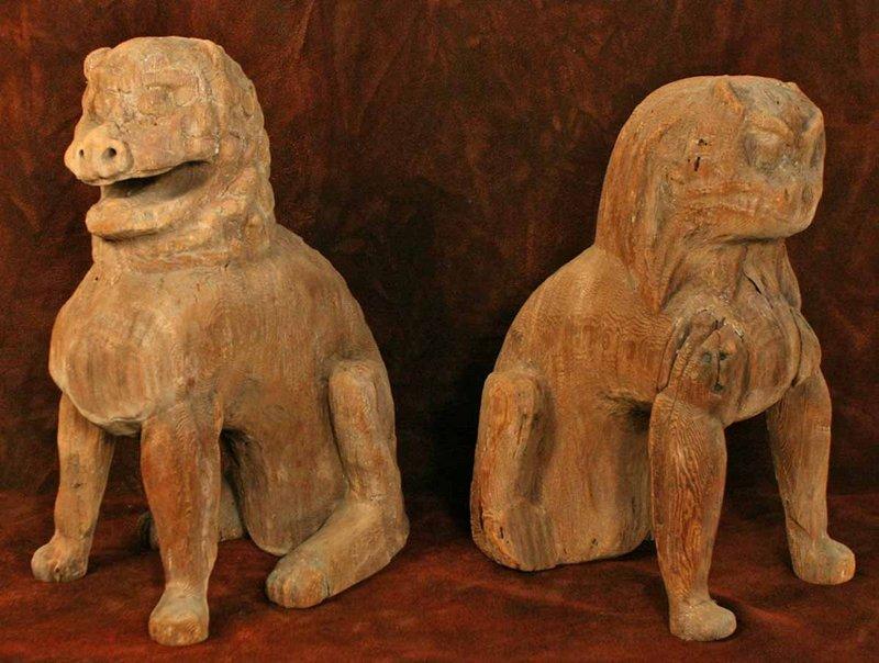 Early Heian Period Wood Koma Inu Temple Dogs
