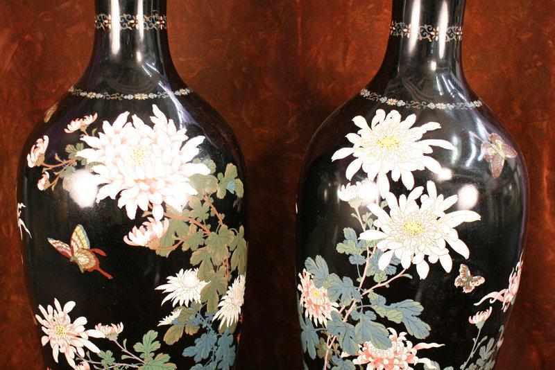 Massive Pair of 19th Century Cloisonne Vases