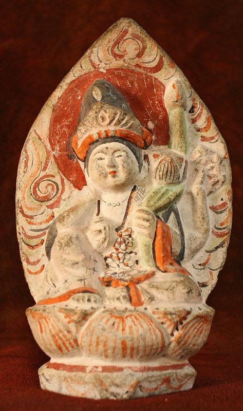 18th Century Japanese Stone Sculpture Pair of Sattva