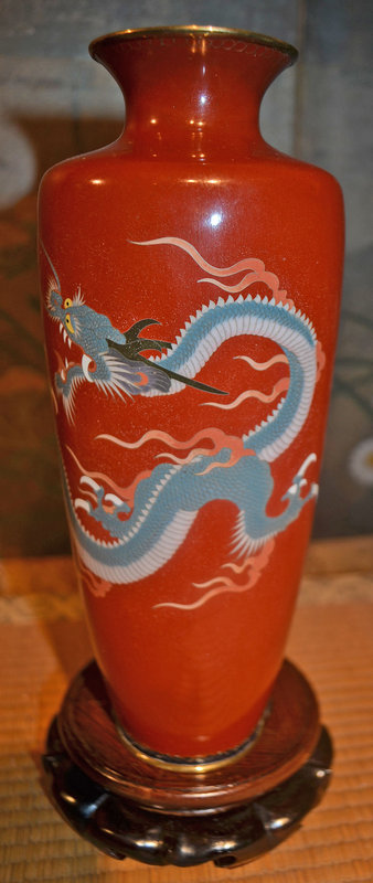 Cloisonne Vase with a Yellow-Eyed Dragon on Maroon