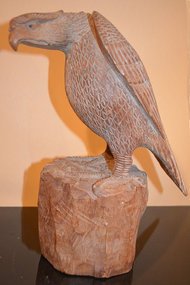 Finely Carved, Large Japanese Okimono of a Perched Hawk