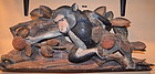 Buddhist Temple Carving of a Monkey on a Peach Tree