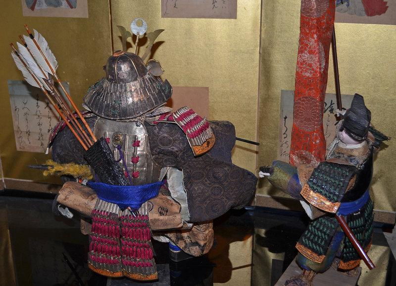Late Edo Period Musha Ningyo of Samurai and Attendant