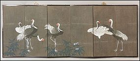 Finely Painted Six-Panel Japanese Crane Screen