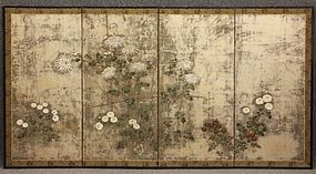 Fine Japanese Edo Period Silver Rimpa Flower Screen