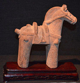Rare Japanese Haniwa Clay Sculpture of a Horse
