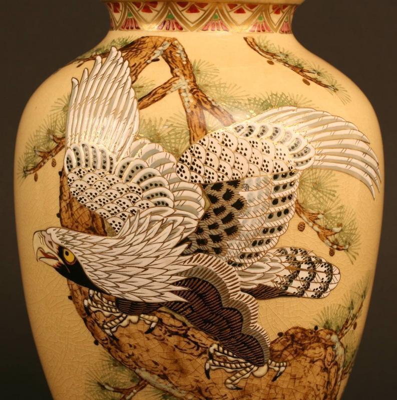 Beautiful Japanese Satsuma Vase with Theme of Dignity