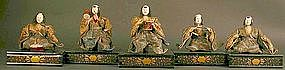Rare Set of Five 18th Century Japanese Musician Dolls