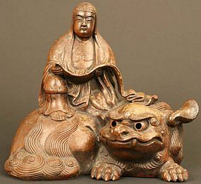 Kannon and Shishi Edo Period Bizen Ceramic Sculpture
