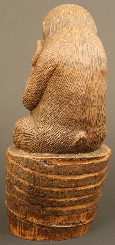 Japanese Antique Sculpture, Okimono of a Snow Monkey
