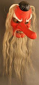 Japanese Tengu Mask, Fine Meiji Period Theater Piece