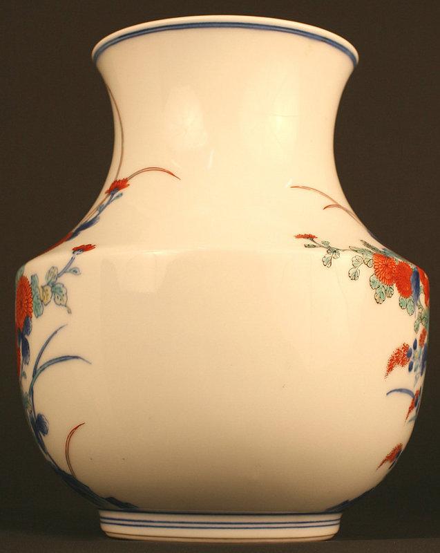 Japanese Antique Kakiemon Porcelain Vase with Flowers