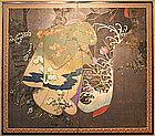 Very Fine 18th Century Screen of 4 Seasons and Kimonos