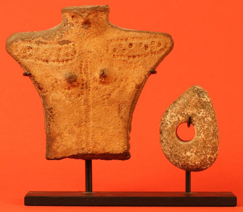 Jomon Period Human Figure with Bird Head and Disc