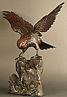 Superb Japanese Sculpture, Falcon Spreads Wings