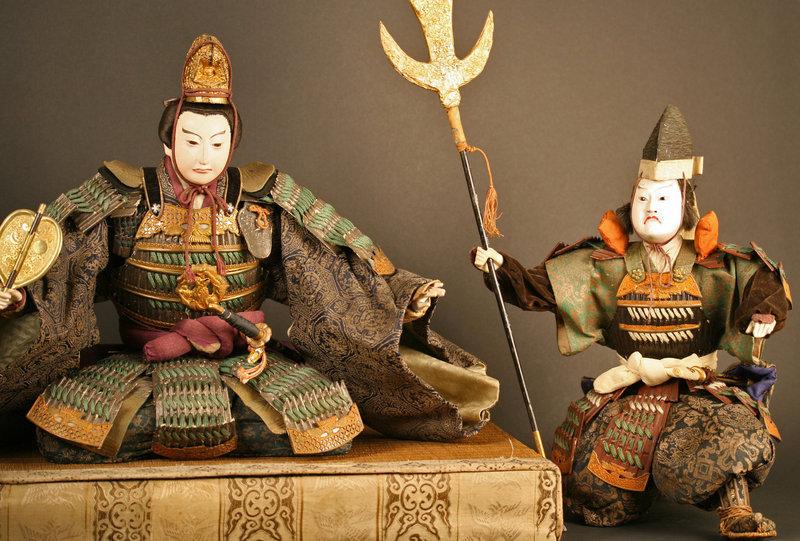Late Edo Period Three Piece Musha Ningyo Samurai Set