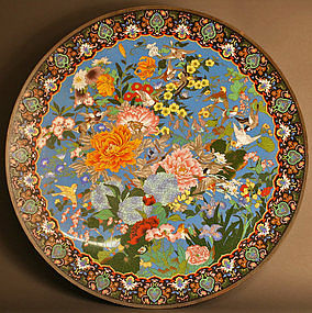 Gorgeous, Monumental 36 inch, 91.5 cm Cloisonne Charger