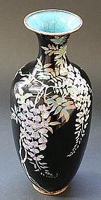 Stunning Meiji Period Midnight Blue Cloisonne Vase