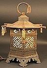 Fine Japanese Garden Hanging Lantern with Cicada