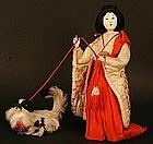 Published Ningyo of Japanese Court Lady and Dog