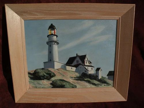 """After EDWARD HOPPER (1882-1967)  painting of """"Lighthouse at Two Lights"""""""