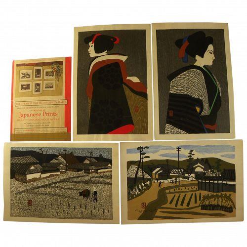 KIYOSHI SAITO (1907-1997) Japanese woodblock art set of FOUR signed fine prints from series