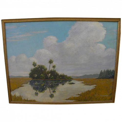 Florida art vintage Everglades oil painting signed by professional artist EDWARD ARTHUR EVANS (1895-)