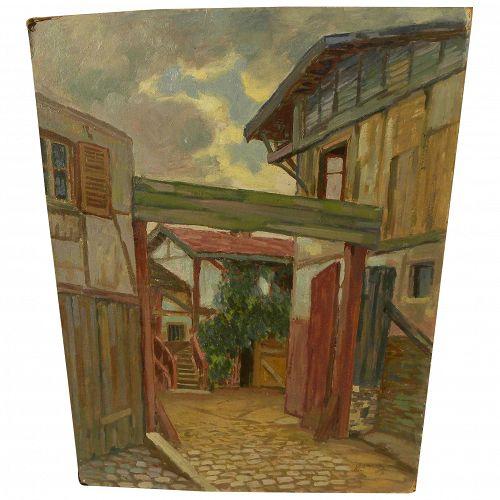 ALBERT ABRAMOVITZ (1879-1963) oil on board painting of European village