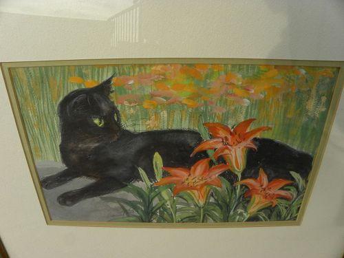 AGNES TAIT (1894-1981) watercolor of black cat New Mexico Santa Fe art