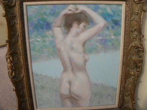 ANDRE GISSON (1921-2003) Impressionist painting of female nude