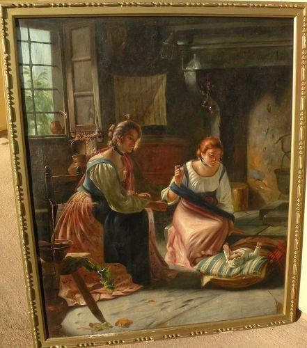 Antique copy of 19th century European interior genre painting