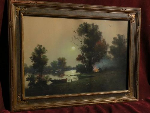 American 20th century pastel school landscape drawing signed GILLETTE