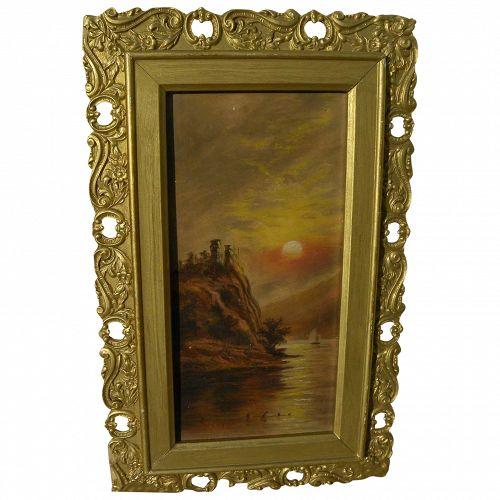 Naive vintage painting of lake at sunset circa 1900