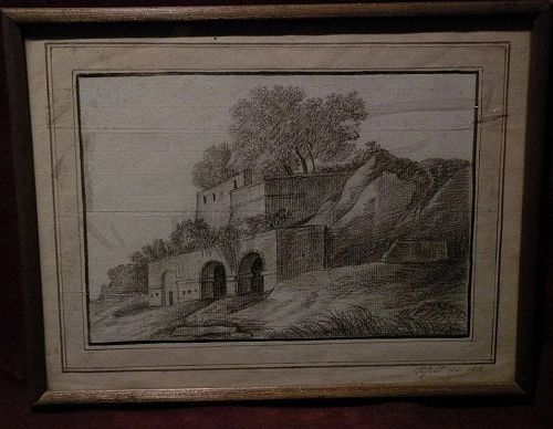 European pencil drawing 19th century signed dated 1818