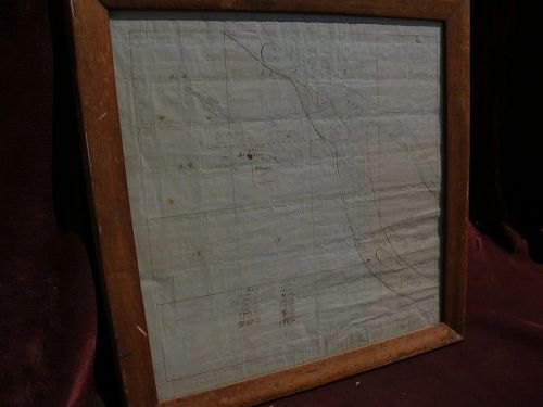 Antique mid 19th century HAND DRAWN survey map of Missouri estate