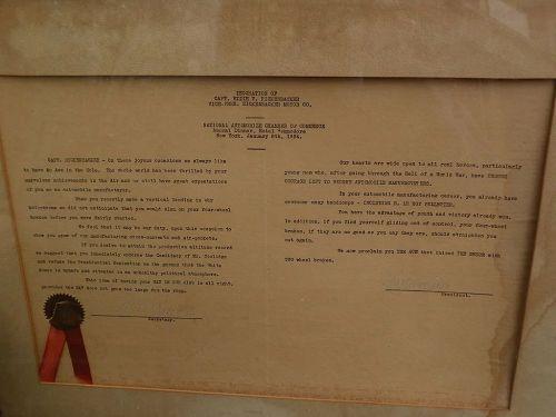 Automobilia scarce 1924 presentation proclamation to war hero and auto pioneer Eddie Rickenbacker