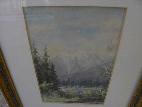 Canadian watercolor art small painting Brazeau River Alberta