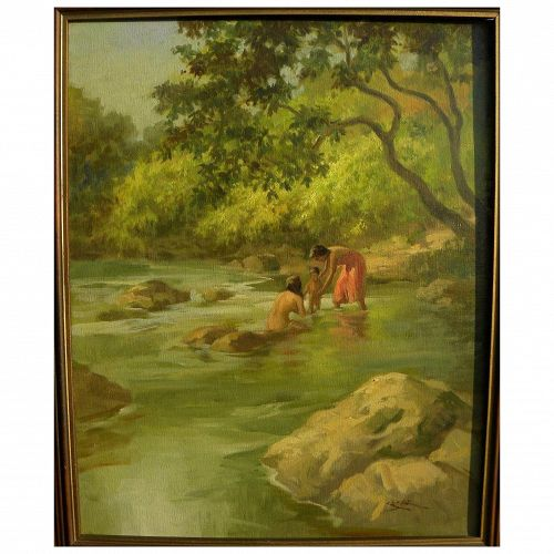 CESAR AMORSOLO (1903-1998) fine oil landscape painting bathers in a river by noted Filipino artist