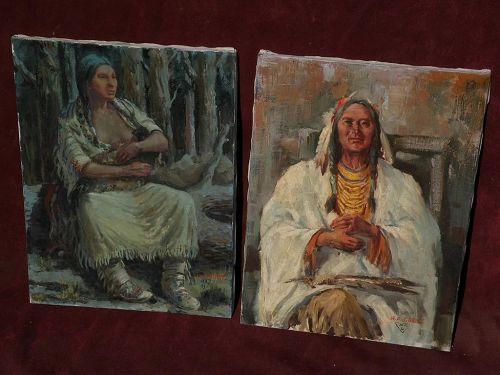 MARCO ANTONIO GOMEZ (1910-1972) **PAIR** Western Americana art paintings of the Native American Indian