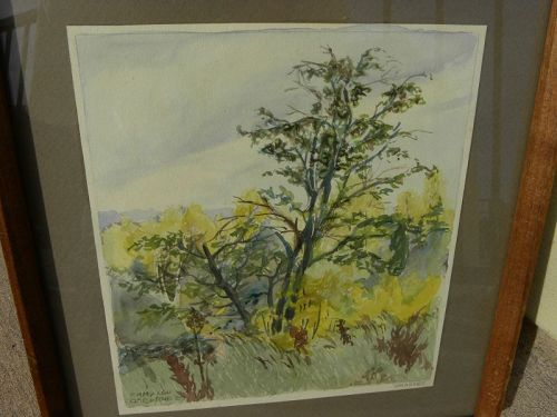 American 1929 watercolor landscape painting signed EMMY LOU OSBORNE