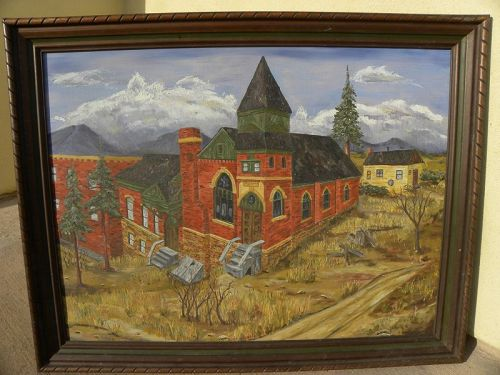 American Regionalist art painting of church in landscape signed SHUCK
