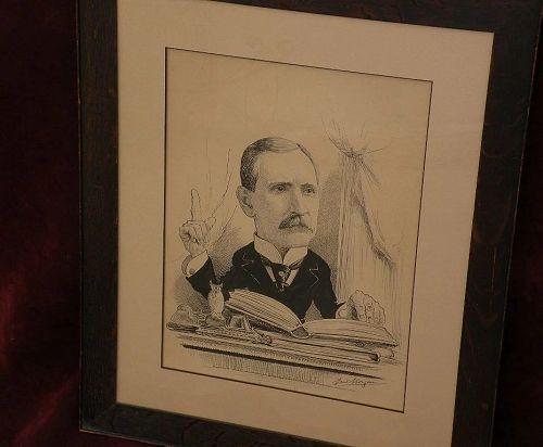 FRED MORGAN (1865-1932) Philadelphia artist political cartoon drawing