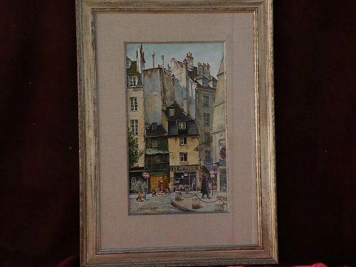 JACK HINES (1923-2015) well listed western American artist original 1984 detailed watercolor of Paris scene