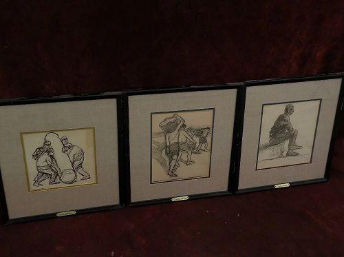 EDUARDO PASCUAL MONTURIOL (1886-1933) Spanish Uruguayan artist **THREE** mixed media drawings circa 1920